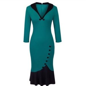 👗 SALE Vintage Fishtail Teal Black Dress